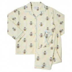 "The Cat's Pajamas Women's ""Queen Bee"" Flannel Classic Pajama Set in Creme"