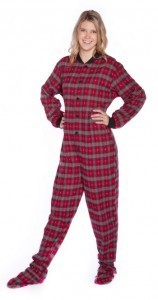Big Feet Pajamas Adult Red Plaid Flannel with Hearts One Piece Footy