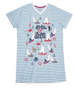 "Hatley Nature ""Dog Days of Summer"" Women's Nightshirt in Blue Stripe"