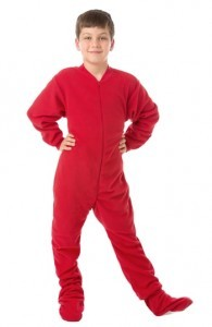 Kids Big Feet Pajamas Red Fleece One Piece Footy