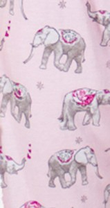 "PJ Salvage Women's Playful Prints ""Elephants"" Cotton Pajama Set in Pink"