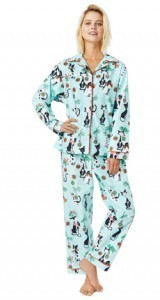 "The Cat's Pajamas Women's ""Merry Meow"" Flannel Classic Pajama Set in Blue"