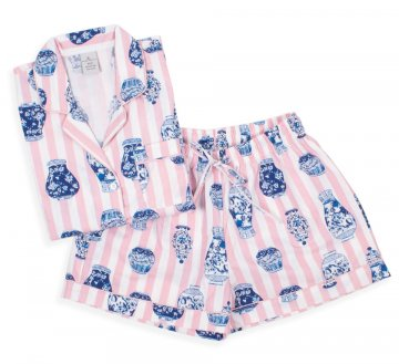 8 Oak Lane Women's Ginger Jar Stripe Cotton Shorts Set