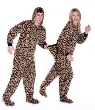 New_Big Feet Adult Leopard Plush Hooded One Piece Footy
