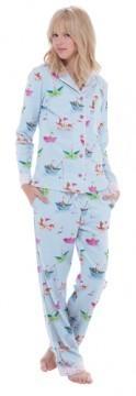 Munki Munki Women's Paper Sailboats Classic Flannel Pajama Set