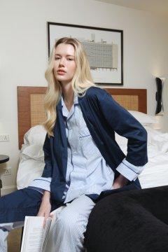 PJ Confidential Women's Zoe Cotton Robe in Indigo