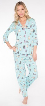 PJ Salvage Women's Playful Prints Cats Cotton Pajama Set in Aqua
