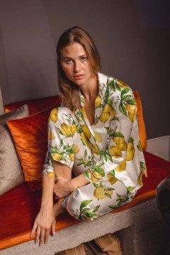 Averie Sleep Alegra Lemons Classic Japanese Satin Pajama Set