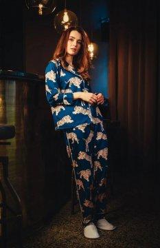 Averie Sleep Amina Blue Tiger Classic Japanese Satin Pajama Set