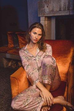 Averie Sleep Dalia Rosy Pink Tiger Classic Japanese Satin Pajama Set