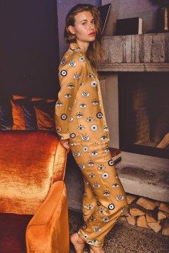 Averie Sleep Amara Greek Eyes Classic Japanese Satin Pajama Set