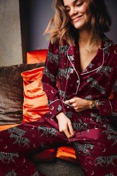 Averie Sleep Isabis Berry Red Zebra Classic Japanese Satin Pajama Set