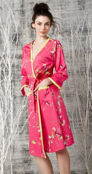 Bedhead Women's Red Birds & Branches Cotton Ribbon Robe