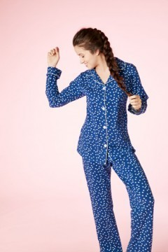 Bedhead Women's Demi Dot Classic Stretch Pajama Set in Navy