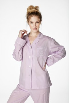 """Bedhead Women's """"Eat Sleep Repeat"""" Embroidered Pink Classic Cotton Pajama Set"""