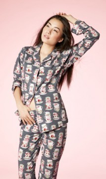 "Bedhead Women's ""Charcoal Cuppa Tea"" Classic Stretch Pajama Set"