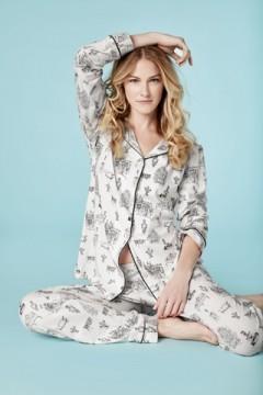 "Bedhead Women's ""Ivory Provencal Decor"" Classic Stretch Pajama Set"