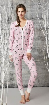 Bedhead Women's Pink or Blue Penguins On Parade Stretch Onesie