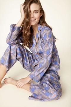 "Bedhead Women's Periwinkle ""Pashmina Paisley"" Classic Voile Pajama Set with Ruffle"