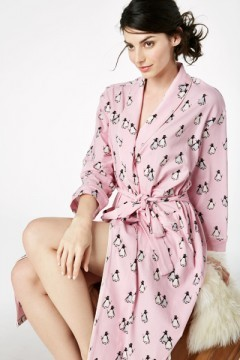 """Bedhead Women's """"Pink Penguin on Parade"""" Stretch Knee Length Robe"""