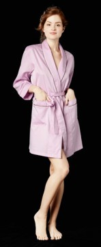 Bedhead Women's Pink Cotton Short Robe With Striped Piping