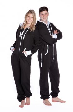 Big Feet Pajamas Adult Hooded One Piece Jumpsuit in Black