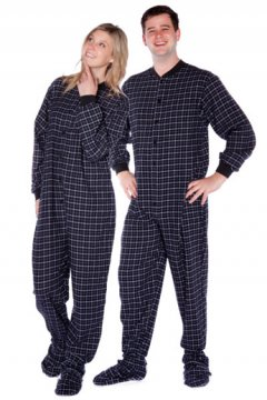 Big Feet Pajamas Adult Black Check Flannel One Piece Footy