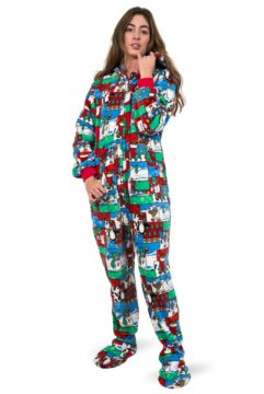 Big Feet Pajamas Adult Christmas Fleece One Piece Hooded Footy