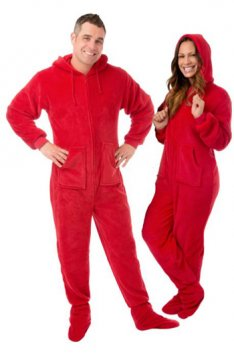 Big Feet Pajamas Adult Red Plush Hooded One Piece Footy