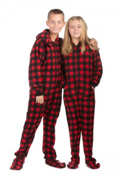 Big Feet Pajamas Kids Red Buffalo Plaid Fleece Hooded One Piece Footy