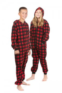 Big Feet Pajamas Kids Red Buffalo Plaid Hooded Fleece Onesie