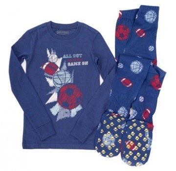 Kids Big Feet Pajamas Sports Game On 2 Piece Cotton Footy in Blue
