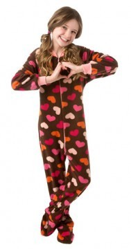 Big Feet Pajamas Kids Chocolate Brown Hearts Fleece One Piece Footy