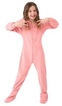 Kids Big Feet Pajamas Pink Fleece One Piece Footy