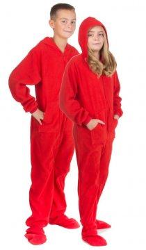 Big Feet Pajamas Kids Red Fleece Hooded One Piece Footy
