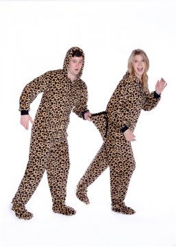 Big Feet Pajamas Adult Leopard Plush Hooded One Piece Footy