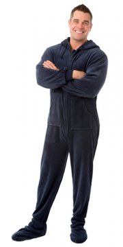 Big Feet Pajamas Adult Navy Plush Hooded One Piece Footy