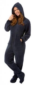 Big Feet Pajamas Adult Navy Plush Hooded One Piece Footy