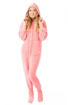 Big Feet Pajamas Adult Pink Plush Hooded One Piece Footy