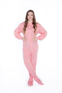 Big Feet Pajamas Adult Soft Pink Jersey Knit One Piece Footy