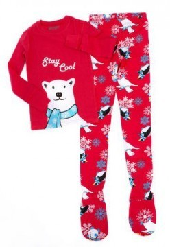 Kids Big Feet Pajamas Stay Cool 2 Piece Cotton Footy in Red