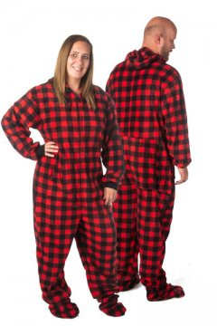 Big Feet Pajamas Adult Red & Black Buffalo Plaid Plush Hooded One Piece Footy