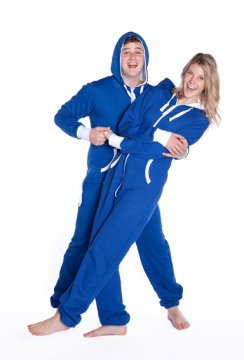Big Feet Pajamas Adult Hooded One Piece Jumpsuit in Royal Blue