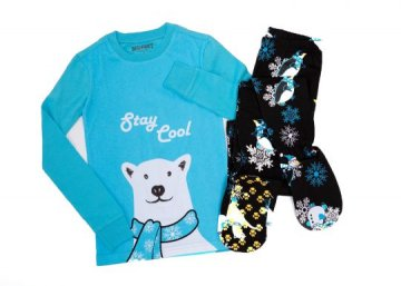 Kids Big Feet Pajamas Stay Cool 2 Piece Cotton Footy in Blue