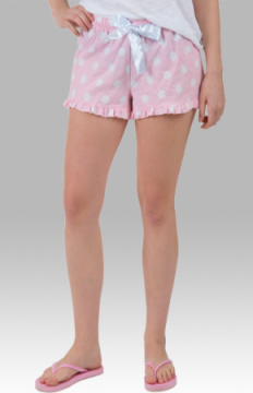 Boxercraft Women's Flannel Pale Pink White Dot VIP Bitty Boxer Shorts
