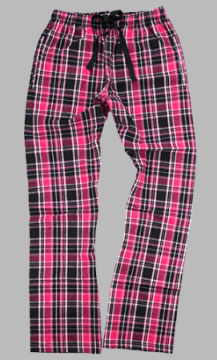 Boxercraft Black and Hot Pink Ribbon Plaid Unisex Flannel Pajama Pant