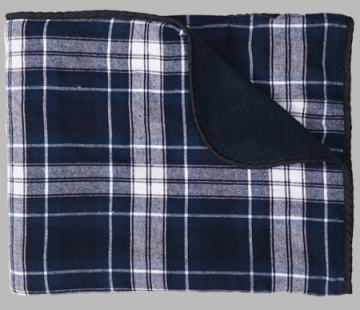 Boxercraft Navy and White Plaid Flannel Blanket