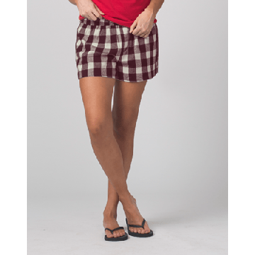Boxercraft Women's Maroon and Natural Buffalo Plaid Flannel Boxer Shorts
