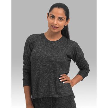 Boxercraft Women's Cuddle Boxy Crew Top in Charcoal