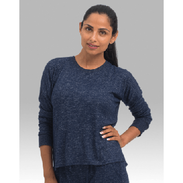 Boxercraft Women's Cuddle Boxy Crew Top in Navy
